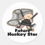 Estrella futura del hockey pegatina redonda