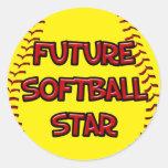 Estrella futura del softball pegatina redonda
