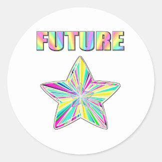 Estrella futura pegatina redonda