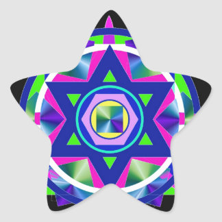Estrella geométrica del vitral de David Pegatina En Forma De Estrella