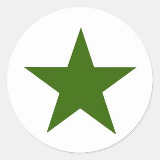 Estrella GreenDark los regalos de Zazzle del MUSEO Pegatina Redonda