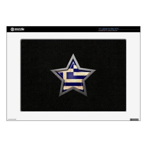 Estrella griega de la bandera con el efecto de ace portátil calcomanías