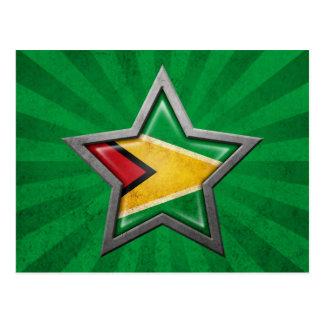 Estrella guyanesa de la bandera con los rayos de l postal