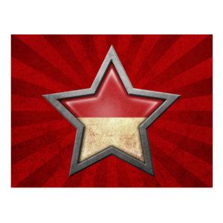 Estrella indonesia de la bandera con los rayos de  postal