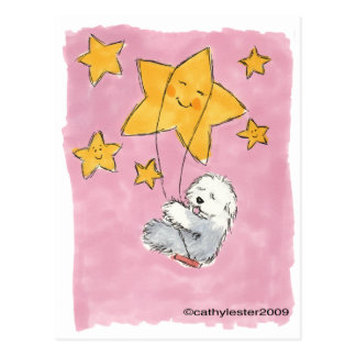 Estrella inglesa vieja del perro pastor postales
