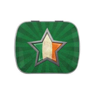 Estrella irlandesa de la bandera con los rayos de frascos de dulces
