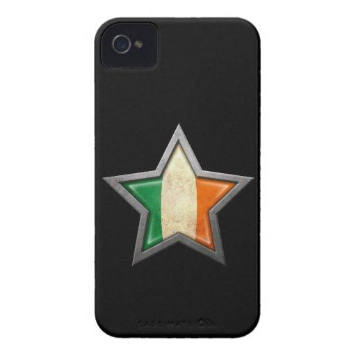 Estrella irlandesa de la bandera en negro iPhone 4 fundas