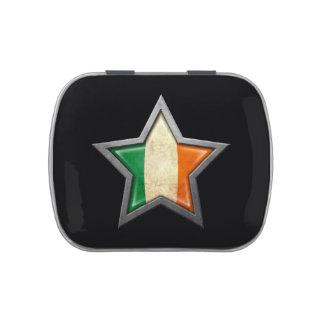 Estrella irlandesa de la bandera en negro jarrones de dulces