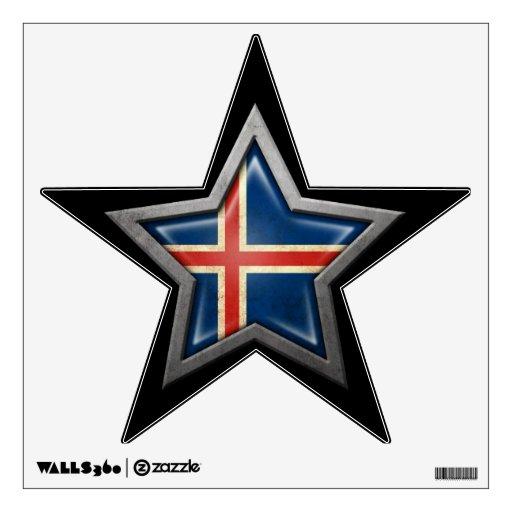 Estrella islandesa de la bandera en negro