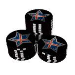 Estrella islandesa de la bandera en negro fichas de póquer