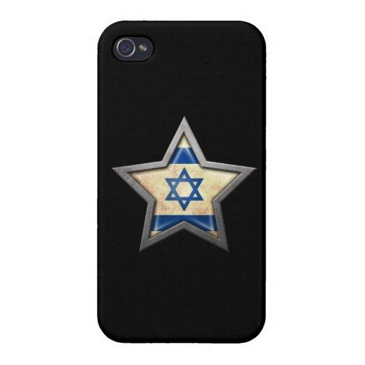 Estrella israelí de la bandera en negro iPhone 4 coberturas