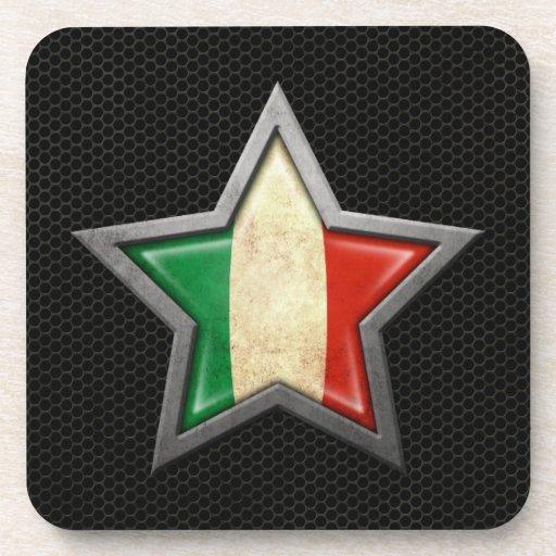 Estrella italiana de la bandera con el efecto de a posavasos de bebidas
