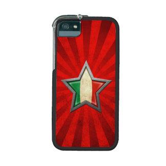 Estrella italiana de la bandera con los rayos de l
