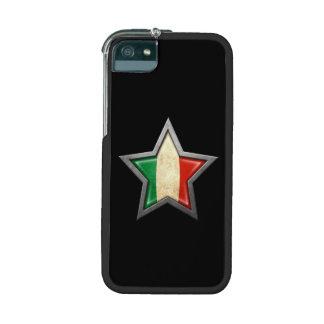 Estrella italiana de la bandera en negro