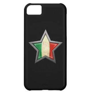Estrella italiana de la bandera en negro funda para iPhone 5C