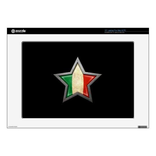 Estrella italiana de la bandera en negro portátil 38,1cm skin