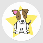 Estrella Jack Russell Terrier de Kawaii Etiqueta Redonda