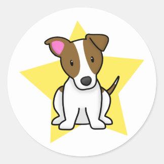 Estrella Jack Russell Terrier de Kawaii Pegatina Redonda
