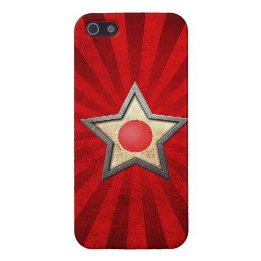 Estrella japonesa de la bandera con los rayos de l iPhone 5 carcasa