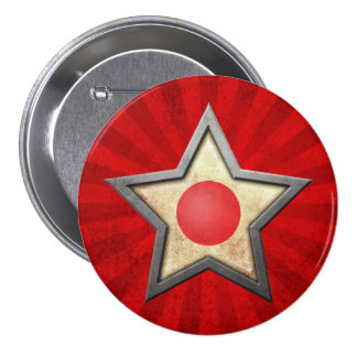 Estrella japonesa de la bandera con los rayos de l pins