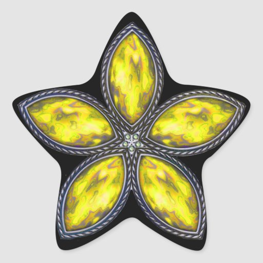 Estrella Jeweled - amarillo Colcomanias Forma De Estrellaes Personalizadas