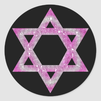 Estrella Jeweled púrpura del diseño de David Pegatina Redonda