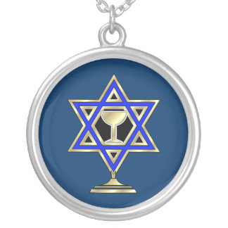 Estrella judía collar plateado
