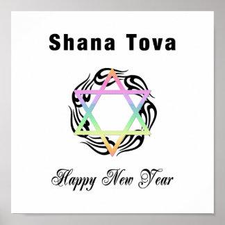 Estrella judía de Año Nuevo de David Posters