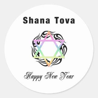 Estrella judía de Año Nuevo de David Pegatina Redonda