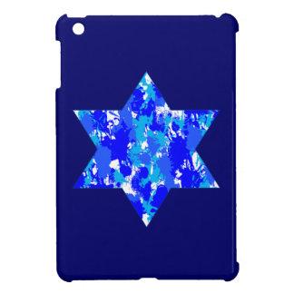 Estrella judía de la salpicadura azul de la pintur