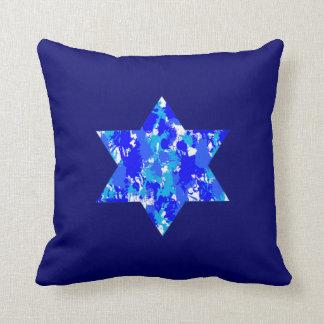 Estrella judía de la salpicadura azul de la pintur cojines