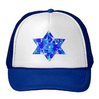 Estrella judía de la salpicadura azul de la pintur gorra
