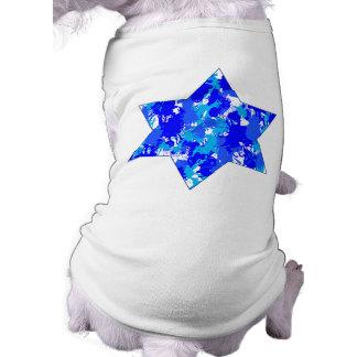 Estrella judía de la salpicadura azul de la pintur ropa para mascota