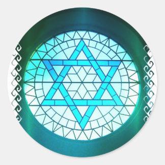 Estrella judía de los pegatinas de David Pegatina Redonda
