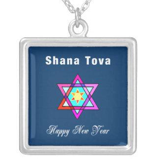 Estrella judía de Shana Tova Colgante Cuadrado