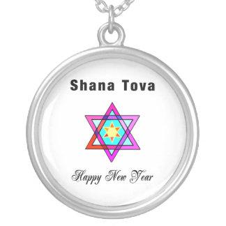 Estrella judía de Shana Tova Colgante Redondo