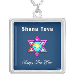 Estrella judía de Shana Tova Collar Plateado