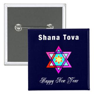Estrella judía de Shana Tova Pin Cuadrado