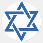 Estrella judía del azul de David Pegatinas Redondas