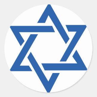 Estrella judía del azul de David Pegatina Redonda