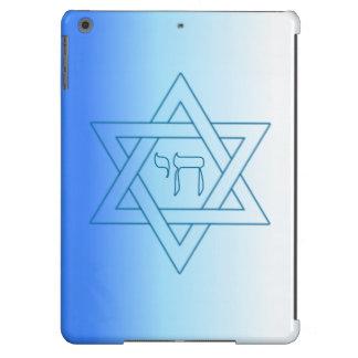 Estrella judía del azul y del blanco de Chai del h Funda Para iPad Air