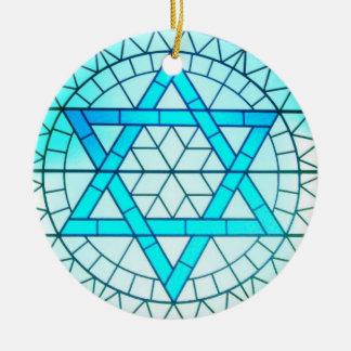 Estrella judía del ornamento de David Adorno Navideño Redondo De Cerámica
