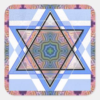 Estrella judía en moaré pegatina cuadrada