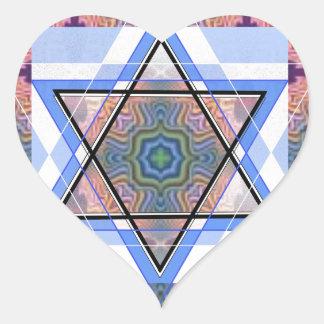 Estrella judía en moaré pegatina en forma de corazón
