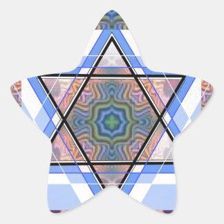 Estrella judía en moaré pegatina en forma de estrella