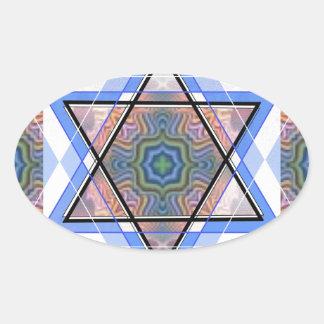 Estrella judía en moaré pegatina ovalada