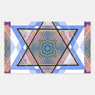 Estrella judía en moaré pegatina rectangular