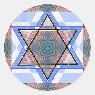 Estrella judía en moaré pegatina redonda