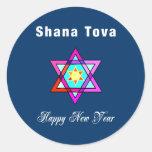 Estrella judía Shana Tova Etiqueta Redonda