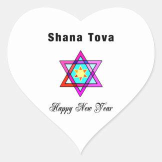 Estrella judía Shana Tova Pegatina En Forma De Corazón